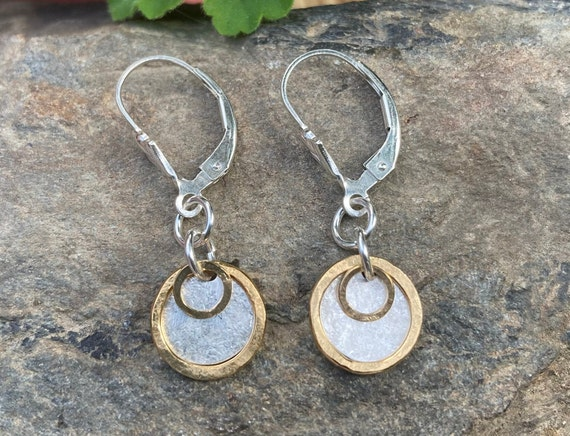 Sterling Gold Filled Disc Layered Earrings