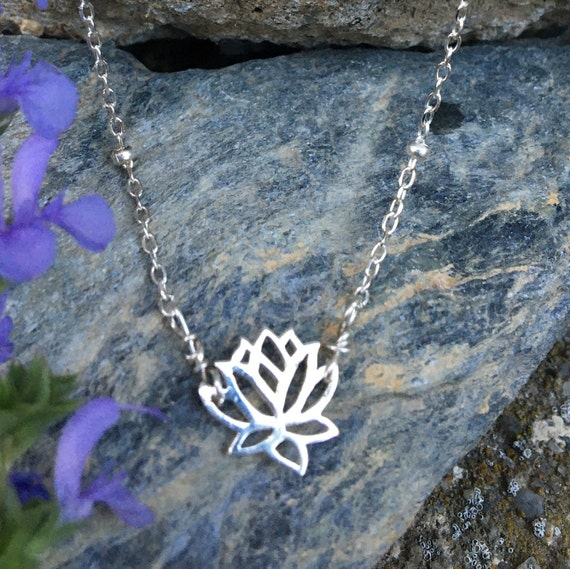 Sterling Lotus Necklace