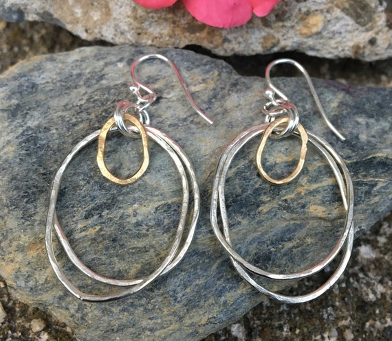 Large Freeform Gold & Silver Earrings
