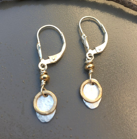 Two Tone Oval Hammered Dangles