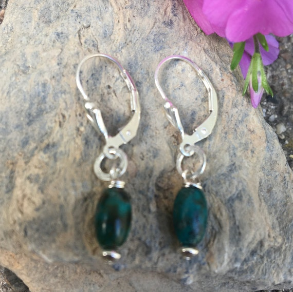 Small Green Earrings, Sterling Turquoise Drops, Tiny Turquoise Dangles