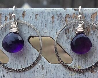 Statement Sterling Silver Amethyst Earrings