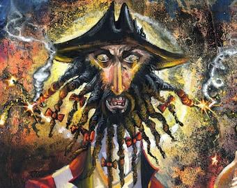 Blackbeard (Edward Teach), Pirate,  Fine Art Print, Free Domestic Shipping, Low International Shipping