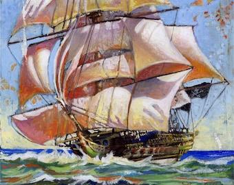 Pirate Ship, Fine Art Print  (Captain Angus Bogg's ship The Pollywogg)