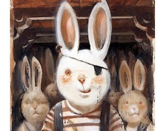 Buccaneer Bunnies  (Fine Art Print not a real Pirate Bunny)