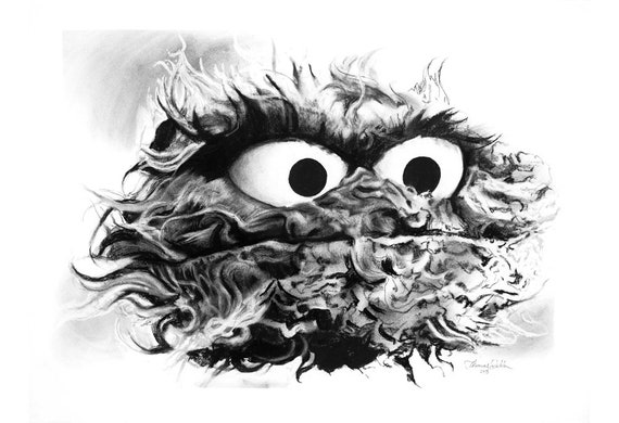 Oscar The Grouch Fine Art Print Not The Real Muppet