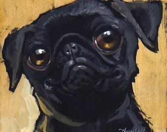 Black Pug (Fine Art Print not a real Dog)
