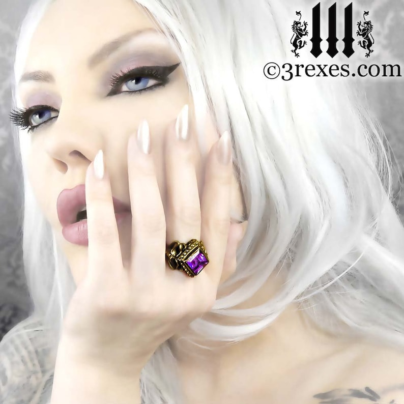 Victorian Cocktail Ring Gothic Purple Amethyst Band Brass Raven Love Size 6