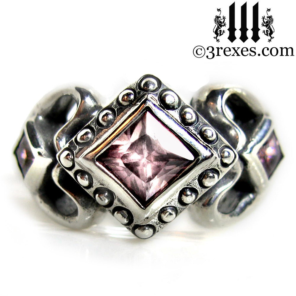 Princess Love Silver Ring Gothic Engagement Band Pink CZ