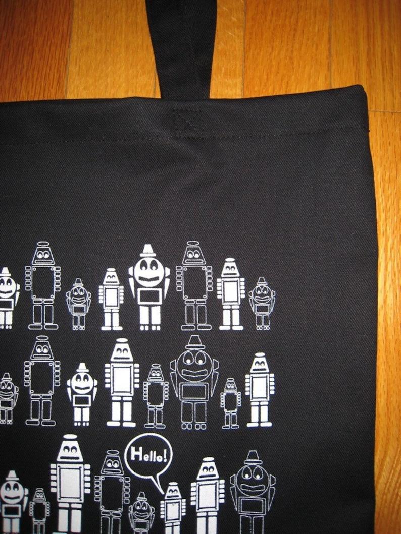 Hello Robot canvas tote bag
