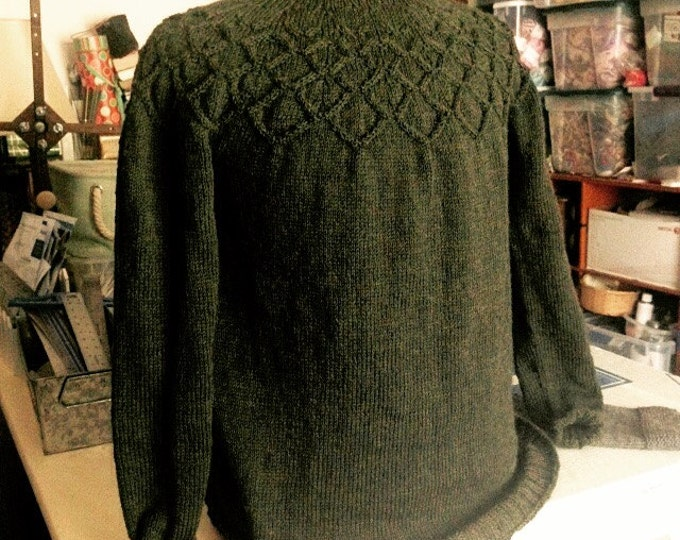 Olive Green Cable Yoke Pullover Sweater