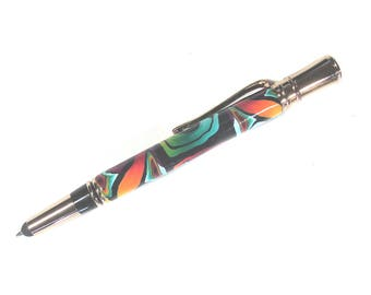 Stylus and refillable ink pen all in one colorful Millefiori polymer clay design PS02