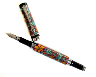 Fountain pen Traditional style silver chrome accents polymer clay Millefiori design  FP211