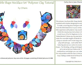 Reversible Shape Necklace Set polymer clay tutorial by CHarm