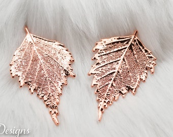Birch Leaf Brooch Rose Gold, Real Leaf Pin, Real Leaf, Birch Leaf, Leaf Brooch, Rose Gold Leaf, Nature, Pink pin