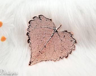 Cottonwood Leaf Brooch Rose Gold, Real Leaf Pin, Real Leaf, Cottonwood Leaf, Leaf Brooch, Rose Gold Leaf, Nature, Pink pin