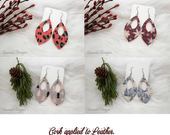 Christmas Earrings Blue Tree, Plaid Snowflakes, Light Weight Earrings, Red, Teardrop, Holiday, Christmas, Cork, Animal Print, Plaid Earrings