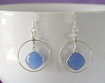 Blue Hoop Earrings Sterling Silver, Blue Chalcedony Earrings, Silver Hoops, Triangle Drop Hoops, Dangle Earrings, Small, medium