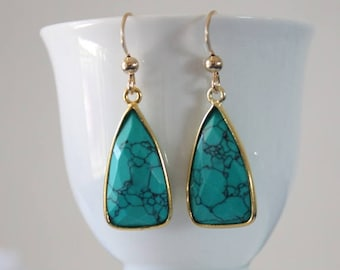 Turquoise Gold Earrings, Green Earrings, Small, Triangle Drop Gemstone