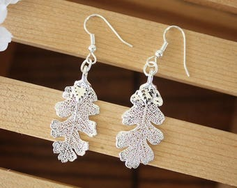 Silver Leaf Earrings, Oak Leaf, Real Leaf Earrings, Small Real Leaf Earrings, Lacey Oak, Sterling Silver, Nature, LESM166