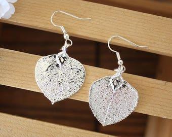 Silver Aspen Leaf Earrings, Real Leaf Earrings, Aspen Leaf, Sterling Silver Earrings, LESM183