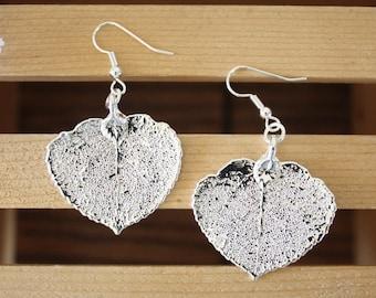 Silver Aspen Leaf Earrings, Real Leaf Earrings, Aspen Leaf, Sterling Silver Earrings, LESM177