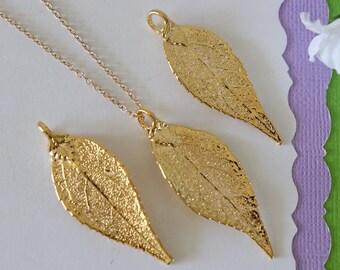 Gold Evergreen Leaf Necklace, Real Leaf Necklace, Evergreen Leaf, Gold Leaf Necklace, Long Leaf, Leaf Pendant LC231