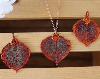 Copper Aspen Leaf Necklace, Real Leaf Necklace, Aspen Leaf, Rose Gold, Leaf Pendant LC233