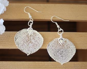 Silver Aspen Leaf Earrings, Real Leaf Earrings, Aspen Leaf, Sterling Silver Earrings, LESM156