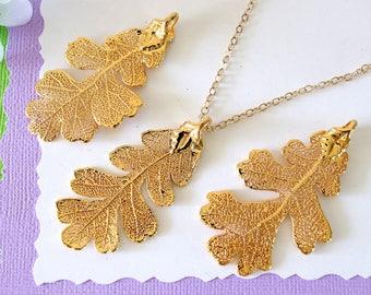 Real Leaf Necklace Oak Leaf Gold Leaf Necklace Leaf Pendant LC45 Long Leaf Gold Lacey Oak Leaf Necklace