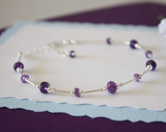 Amethyst Anklet and Sterling Silver, Purple Anklet, Silver Anklet, Beach, Vacation, Beach Wedding, Bridesmaid, best friend gift