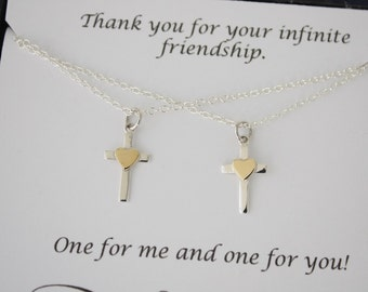 Friendship Cross Necklace Gift Set, 2 Cross Heart Necklaces, BFF, Set of two, Sterling Silver and Gold, Best Friend Gift, Sister Gift