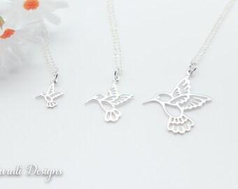Hummingbird Charm Necklace, Friendship Gift, Sterling Silver, Bestie Gift, Bird Necklace, Small Hummingbird, Nature, Hummingbird, Large