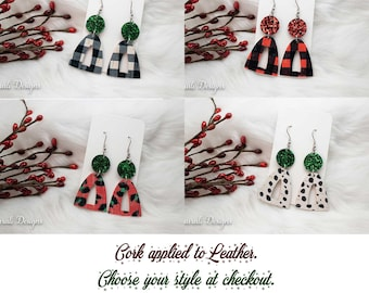 Buffalo Plaid Earrings Black and White, Red and Black, Light Weight Earrings, Leopard, Glitter, Holiday, Christmas, Cork, Red, Animal Print