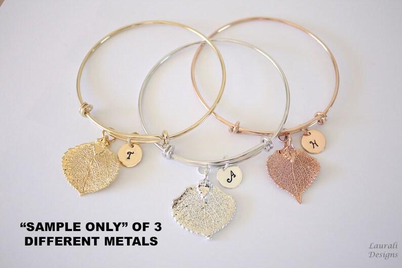 Initial Charm Pink Aspen Bridesmaid Gift Rose Gold Personalized Leaf Bangle Aspen Mix Metal Real Leaf Leaf Bangle Brass