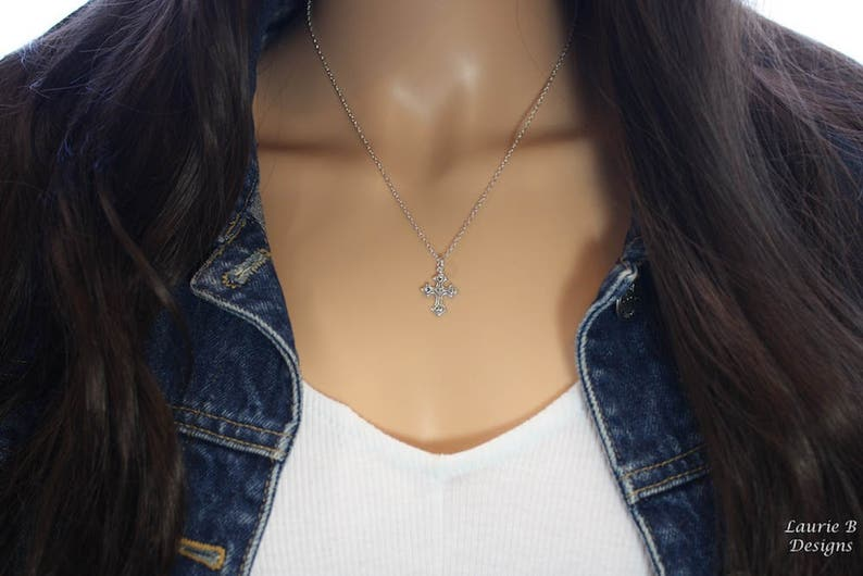Friendship Gift Thank you card Sterling Silver Silver Cross Charm Cross with Hearts Charm Necklace Bestie Gift Religious Necklace