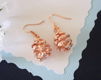 Pine Cone Earrings Rose Gold, Redwood Pinecone, Small Size Earrings, 24kt Rose Gold Earrings, Copper Pinecone