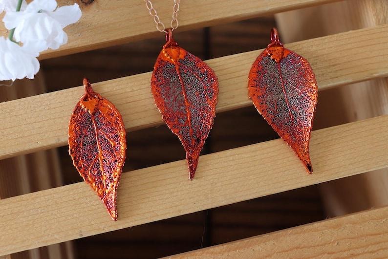 Copper Evergreen Leaf Necklace Leaf Pendant LC205 Long Leaf Evergreen Leaf Real Leaf Necklace Rose Gold Leaf Necklace