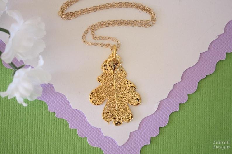 LC129 Real Lacey Oak Leaf Necklace Gold Filled Lacey Oak Real Gold Leaf Small Gold Oak Leaf Necklace Oak Leaf