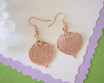 Aspen Leaf Earrings Rose Gold, Aspen Leaf, Small Size Earrings, 24kt Rose Gold Earrings, Fall Wedding
