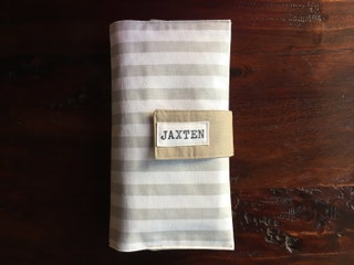 Diaper Clutch, Nappy Wallet, Gray and White Stripe, Personalized, Monogram, Baby Shower Gift, Custom Baby Gift