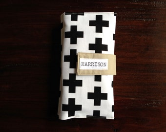 Diaper Clutch Black and White Swiss Cross Personalized Baby Shower Gift