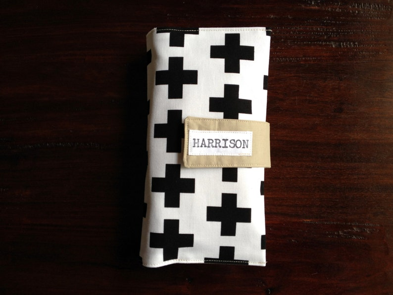 Diaper Clutch Black and White Swiss Cross Personalized Baby image 0