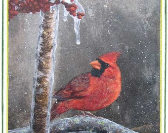 Cardinal (male) in Winter note card