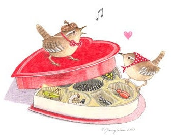 "Valentine ""Love Birds""  illustrated note card"