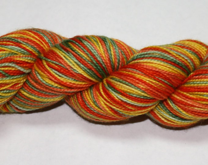 Ready to Ship - Great Pumpkin Self Striping Hand Dyed Sock Yarn - Tough Sock