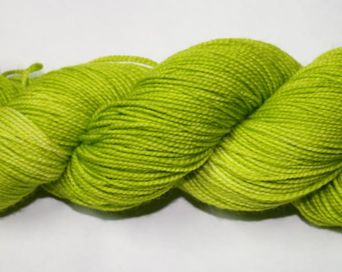 Ready to Ship - Highlighter Green Hand Dyed Sock Yarn - Twist Sock