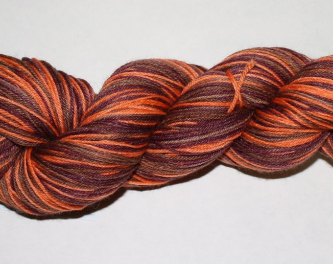Ready to Ship - Pumpkin Spice Latte Self-Striping Hand Dyed Sock Yarn - Tough Sock