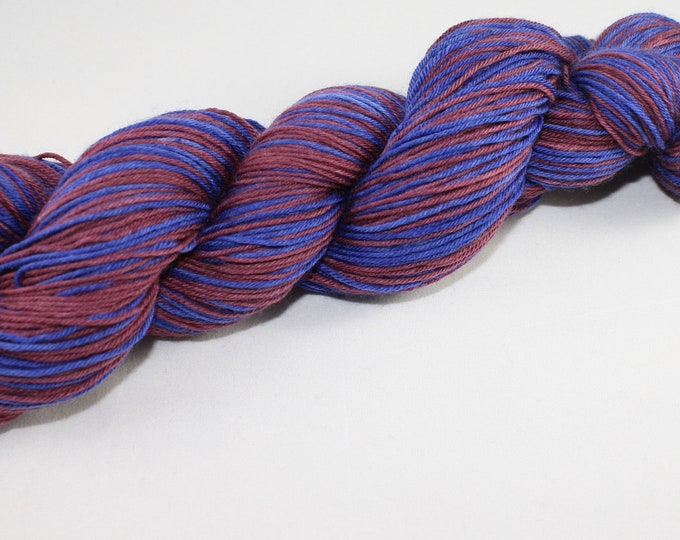 Blue and Maroon Self Striping Hand Dyed Yarn