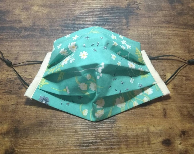 Robin Egg Flowers Face Mask with Filter Pocket, Elastic, and Nose Wire